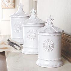 Mud Pie Fleur de Lis Kitchen Canisters Set of 3 Milk Glazed Terracotta