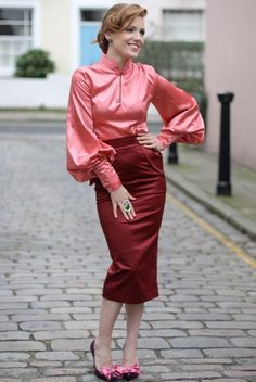Pink Satin Blouse Red Satin Pencil Skirt and Matching High Heels http://cruelfemdom.net/ytgbv/sitting-on-top-of-the-world/