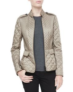 Quilted Zip Peplum Jacket by Burberry London at Bergdorf Goodman.