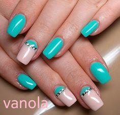 Beach nails, Bold nails, Bright moon nails, Club nails, Festive nails, Half-moon nails ideas, June nails, Nails with rhinestones ideas