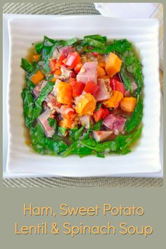 Ham Sweet Potato and Spinach Soup - the perfect quick leftover soup recipe to enjoy after a baked ham dinner. This one does not skimp on colour, flavour or nutrition! Soup Recipes, Dinner Recipes, Healthy Recipes, Healthy Soups, Ham Recipes, Leftover Soup Recipe, Ham Dinner, Spinach Soup, Soups And Stews