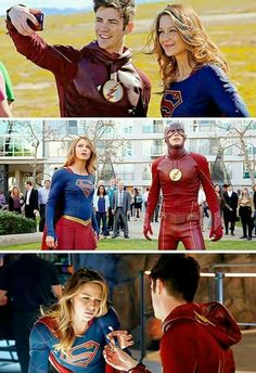 Flash and Supergirl Supergirl Tv, Supergirl And Flash, Dc Tv Shows, The Cw Shows, Batman Y Superman, Flash Funny, The Flash Grant Gustin, Cw Dc, Univers Dc