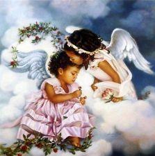 "Paintings by Sandra Kuck Duet | Sandra Kuck "" Sharing the Love"" Girl Angels Print Image 12"" x 12"""