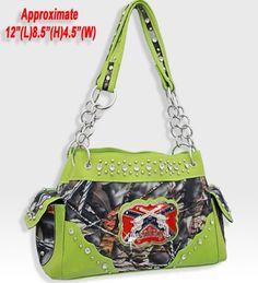 Lime Green Western Style Red Neck Camo Guns Purse Handbag #HandbagsBlingMore #ShoulderBag