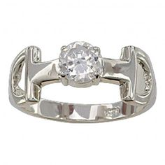 Size 8 - Snaffle Bit Solitaire Ring (RG61496CZ-8) - Jewelry - Jewelry & Gifts   Montana Silversmiths