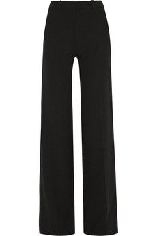 Wool And Silk-blend Crepe Cropped Wide-leg Pants - Black Valentino