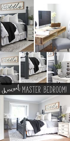 and White Master Bedroom Reveal Charcoal Master Bedroom on a Budget.Charcoal Master Bedroom on a Budget. Bedroom Decor On A Budget, Decorating On A Budget, Home Decor Bedroom, Bedroom Furniture, Diy Home Decor, Metal Furniture, Antique Furniture, Furniture Ideas, Stylish Bedroom