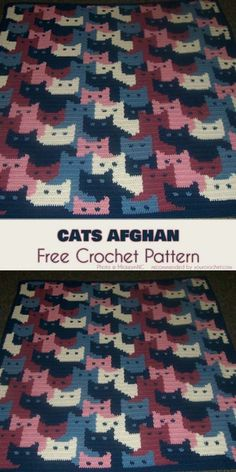 Cats Afghan by Sandra Miller Maxfield will bring the attention of every kid and cat lover around. This blanket will also be an eye-catching addition to any children room. Cute cats will be also a perfect idea for the baby blanket or stroller blanket for spring.  For more free designs every day fol
