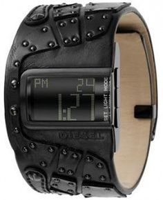 Shop & compare prices : Watch by Diesel UPC: Long live leather. This DIESEL watch features a black leather cuff bracelet with studs and black ion-plated rectangular stainless steel case. Find the best deal. Mochila Oakley, Leather Cuffs, Black Leather, Mode Masculine, Cool Watches, Men's Watches, Casual Watches, Sport Watches, Luxury Watches