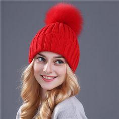 959c18795cc Women Winter Hats Soft Fur Ball ~ Pom Poms Beanies