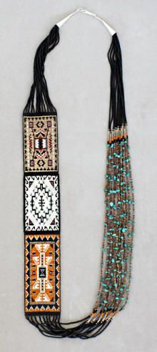 Navajo rug necklace made by VY Hatathlie (Diné)