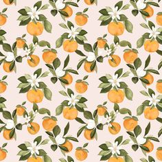 Oranges on pink small by mintpeony