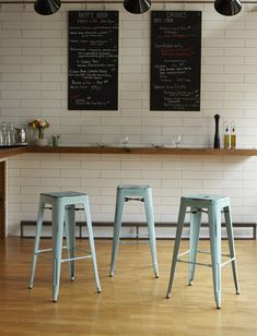 Bristow Collection - Metal Barstools in Antique Sky Blue