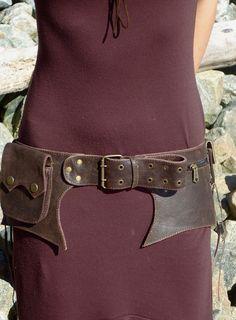 Steampunk Hip Belt Bag leather Dark Brown $79.00
