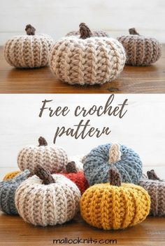 Free crochet pattern for pumpkins that look knit!