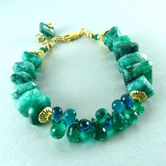 Green+Gemstone+Bracelet+Green+Moonstone+and+Quartz+by+SurfAndSand...sooooo lpretty