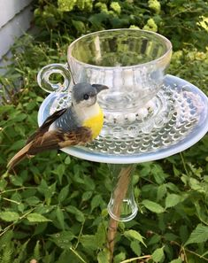 Hottest Images Bird Feeders garden Tips : Top rated suggestion: to get an increasingly genuine looking bird feeder, try smearing the amalgamation in to the lines Outdoor Candle Holders, Outdoor Candles, Vintage Candle Holders, Tea Cup Planter, Tea Pots, Recycled Garden Art, Glass Tea Cups, Tea Party Decorations, Garden Stakes