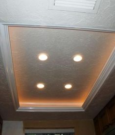 Another Tray Ceiling Recessed Lighting Idea To Replace The Fluorescent Kitchen Lights Kitchen Lighting Over Table, Best Kitchen Lighting, Kitchen Lighting Fixtures, Condo Kitchen, Kitchen Redo, Kitchen And Bath, Kitchen Ideas, Kitchen Stuff, Kitchen Inspiration