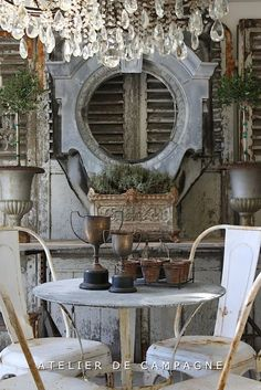 Atelier de Campagne - Home - create an interesting backdrop for an outdoor table setting how about the wall against your shed? French Country Cottage, French Country Style, French Farmhouse, Rustic French, Country Chic, Decoration Shabby, Shabby Chic Decor, French Decor, French Country Decorating
