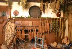Drying Herbs By the Hearth & Spinning Wheel  At the Walker Homestead in the New England Area
