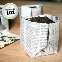 How to fold newspaper into biodegradable planters. #vegetableplanters