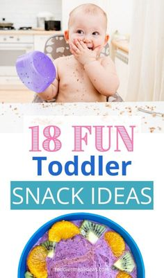 Need ideas for your toddler's snacks? I'm sharing 18 fun & easy toddler snack ideas. These snacks are fun and appealing but can be made quickly and don't require baking.  Pin now to save for later! #toddler #toddlertips #toddlersnacks Easy Toddler Lunches, Healthy Toddler Meals, Kids Meals, Daycare Meals, Baby Meals, Toddler Food, Healthy Cooking, Healthy Food, Feeding Baby Solids