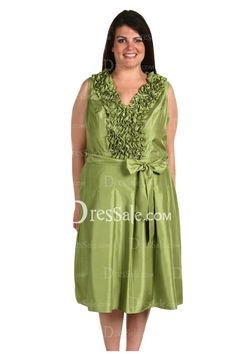 76c1bdc470a96 Fresh Bud Green Stretch Satin Plus Size Mother of the Bride Dress with Bow  Tie -