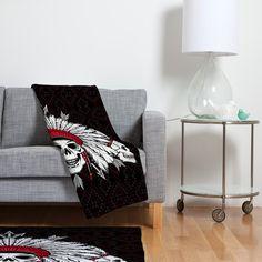 Chobopop Geometric Indian Skull Fleece Throw Blanket