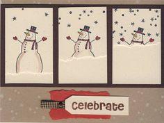 Weihnachtskarte mit zugeschneitem Scheemann