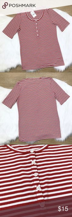"""[J. Crew] Striped Henley Top NWT Size Small [J. Crew] Striped Henley Top NWT Size Small. Burnt orange and white stripes. Button detail. Very soft and stretchy material. Perfect to layer or wear alone.  Bust: 34"""" Hem: 32.5"""" Length: 24.5"""" Sleeve: 10.5"""" J. Crew Tops Tees - Long Sleeve"""