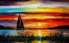 Awesome Sunset Boat Sea Paintings and HD Desktop Wallpapers, Images For 4K, 1080p, Widescreen Resolution Download For Computer Backgrounds, Mobiles Phones, Tables Absolutely Free.
