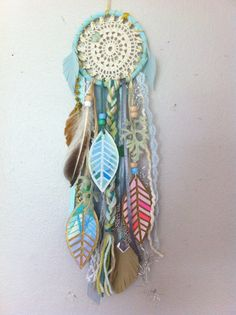 Aqua Dream Little Dreamcatcher with watercolor by RachaelRiceArt