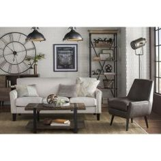 Get inspired by Industrial Living Room Design photo by Room Ideas. Wayfair lets you find the designer products in the photo and get ideas from thousands of other Industrial Living Room Design photos. Living Room Clocks, Living Room Furniture, Living Room Decor, Furniture Stores, Dining Room, Industrial Living, Industrial Design, Coastal Industrial, Industrial Bedroom