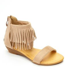 Love this Tan Layered-Fringe Strap Sandal on #zulily! #zulilyfinds