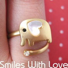 $10 Adjustable Elephant Ring in Gold with Heart Shaped Ears