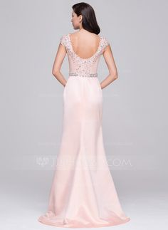Trumpet/Mermaid Scoop Neck Sweep Train Satin Evening Dress With Lace Beading Sequins (017064189)