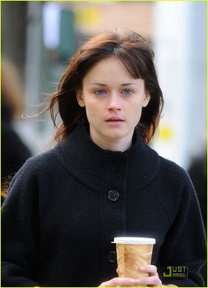 Alexis Bledel Has A Curly Hair Day: Photo Alexis Bledel balances two cups on top of each other while walking around the set of her latest film, Violet & Daisy, on Friday (October in New York City. Gilmore Gilrs, Emma Watson Beautiful, Rory Gilmore, Miranda Cosgrove, Brenda Song, Guys And Dolls, Alexis Bledel, Jennifer Connelly, Tv Actors