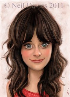 (PG) Zooey Deschanel caricature #art #Caricature #cool. For more great pins go to @KaseyBelleFox