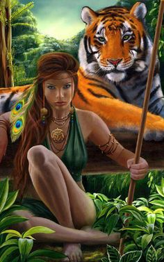 Jungle girl with a tiger