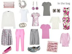 Travel clothing for two weeks in pink and gray