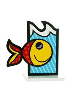 BOOMFISH white base sculpture $395