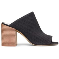 Kenneth Cole New York Karolina 3 Leather Block Heel Mules ($113) ❤ liked on Polyvore featuring shoes, black, leather upper shoes, leather slip on shoes, black mule shoes, leather slip-on shoes and black open toe shoes
