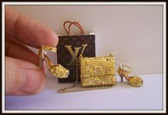 Bag and shoes dollhouse miniature 1:12 scale.