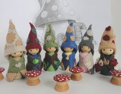 Waldorf gnomes, gnome, waldorf toy  Made to order - there is a one week turn around time on this item.  Call them gnomes or woodland folk, these little ones are sure to delight your little one! This set has been hand made with love and attention to detail. You have your choice of either four or six woodland dwellers which are sure to bring your childs imagination to life. You can select how many you would like under the number option above (under price and quantity).  Each one is about 2…