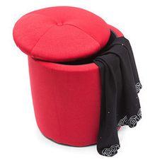 Lilli Storage Ottoman (Red)