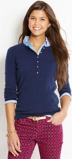 Love the collard neck shirt idea under the half button up shirt