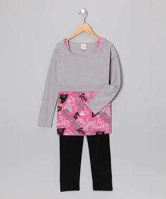 Gray & Pink Layered Tunic & Leggings - Girls by Fashion Points: Tween Trends on #zulily #fall