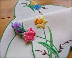 Check out this item in my Etsy shop https://www.etsy.com/uk/listing/508176161/vintage-embroidered-spring-linen-floral