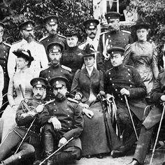 "Romanov gathering. 1889/1890. Second row standing in the middle is lovely Grand Duchess Alexandra Georgievna nee Princess Alexandra of Greece and Denmark. """