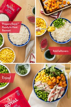 Get the most of of your leftovers with a healthy holiday buddha bowl. Use Royal® Ready to Heat Basmati rice for an authentic flavor in just 90 seconds. Royal Basmati Rice, Chicken Rice Recipes, Buddha Bowl, Rice Bowls, Chana Masala, Yum Yum, Turkey, Cooking, Healthy